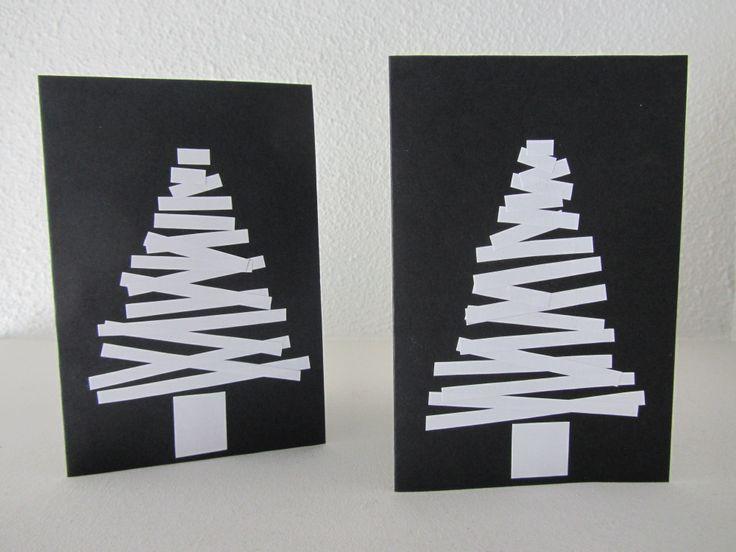 Postales de Navidad con cartulina y papel