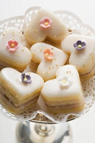 Petit Fours Hearts, great for wedding instead of cake