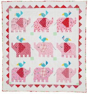 Little Elephant Quilt Pattern by Red Brolly at KayeWood.com. 55-1/2in x 51-1/2in  The Little Elephant Quilt can be made for either a boy or girl.  The Little Elephants can be made in pinks, blues, or multi colours. http://www.kayewood.com/Little-Elephant-Quilt-Pattern-by-Red-Brolly-RB-LIEL.htm $10.00