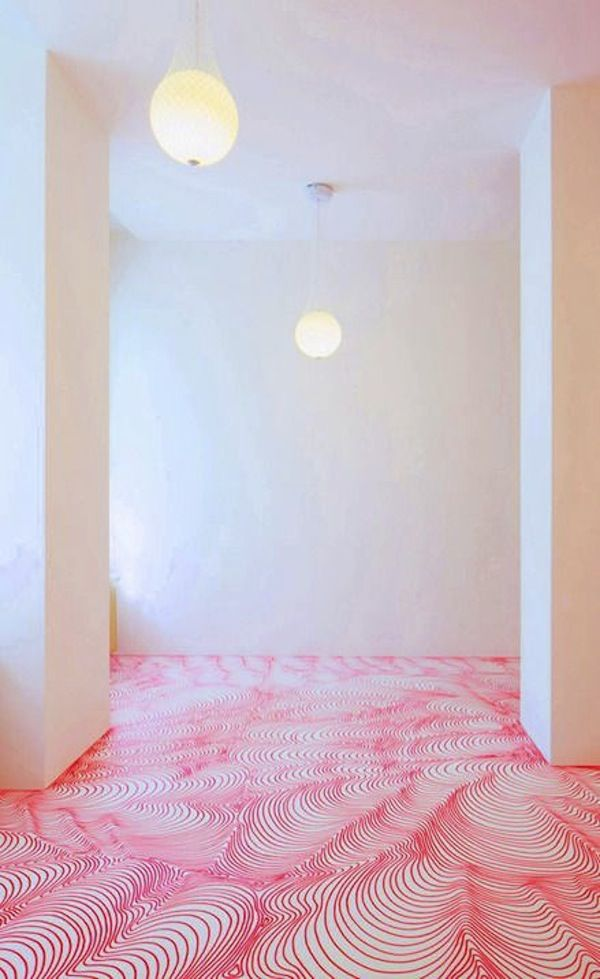 LOVE THIS - permanent marker drawn floor art installation Painting Tile Floors, Painted Floors, Painted Floor Tiles, Painted Wood, Diy Design, Design Trends, Interior Design, Design Interiors, Posca Marker