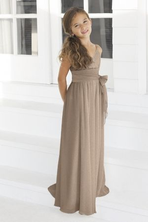 For Mariah;) Description: Alexia Junior Bridesmaid Dresses, Spring 2012. Junior version of style 4046. Ivory bella chiffon, floor length length dress with black pleated band and tie at waist.