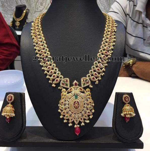 Jewellery Designs: Mango Style CZ Gemstone Haram