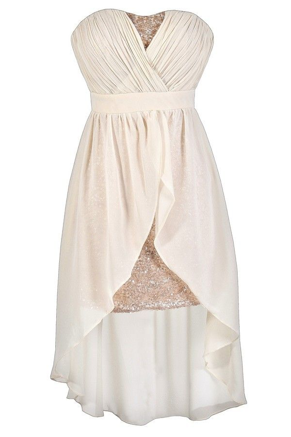 Lily Boutique - $42.00 - Darby Sequin and Chiffon High Low Dress in Cream