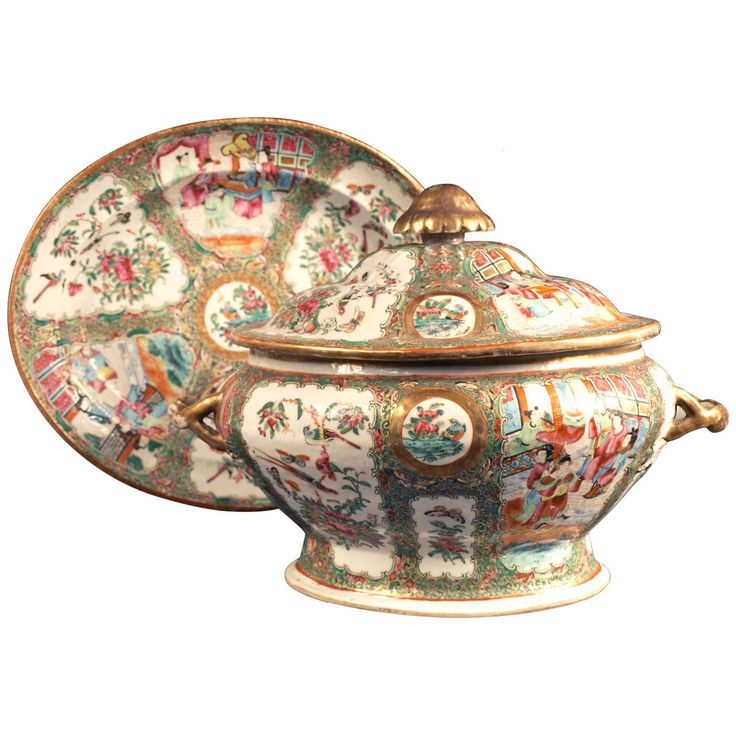 China, Canton, Tureen and Stand, 19th Century | From a unique collection of antique and modern ceramics at https://www.1stdibs.com/furniture/asian-art-furniture/ceramics/