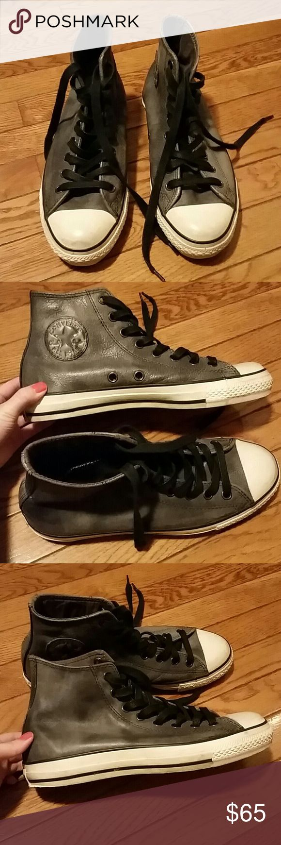 John Varvatos Leather Converse Unisex John Varvatos Leather Converse. Men's size 8, women's size 10. Still in good condition. Converse Shoes Sneakers