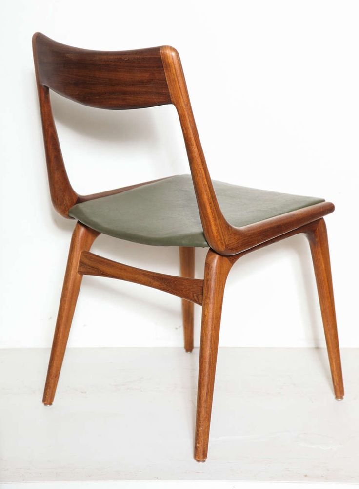 Erik Christensen Boomerang Dining Chairs Set of 6 | From a unique collection of antique and modern dining room chairs at https://www.1stdibs.com/furniture/seating/dining-room-chairs/