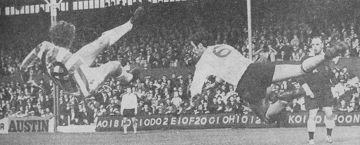 12th October 1968. Stoke City's John Mahoney expansive bicycle kick was in vain as Burnley defender Colin Blant heads clear, at the Victoria Ground.