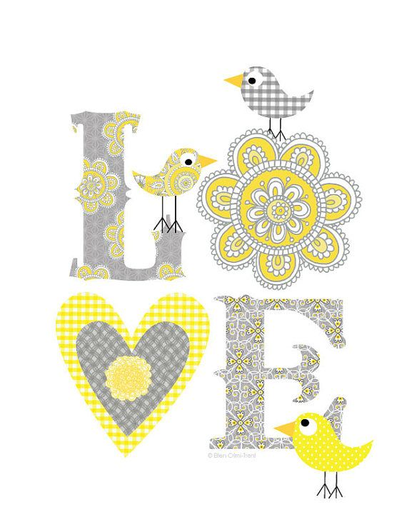Gray Yellow Love print Art Decor by EllenCrimiTrent on Etsy, $18.00