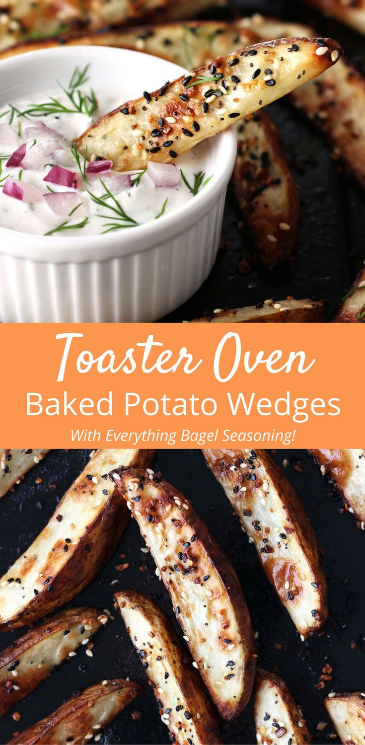 Crispy outside and creamy inside, these toaster oven baked potato wedges taste better than takeout and are so easy to customize. Potato Recipes | Toaster Oven | Potato Wedges via @toasterovenlove