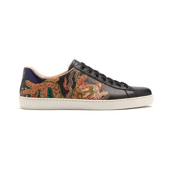 cb1ff812 Gucci Ace dragon-embroidered low-top leather trainers ($830 ...