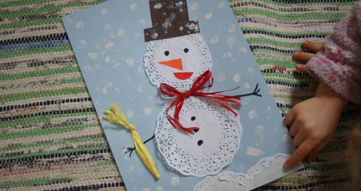 Bałwanek z papierowej serwetki - zimowa praca plastyczna dla przedszkolaków.  Snowman with paper napkins - Winter artwork, for preschoolers.