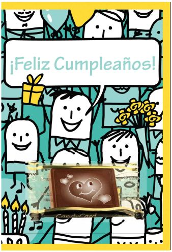 Nuestras tarjetas con chocolate son una delicia real para ofrecer un cumpleaños.
