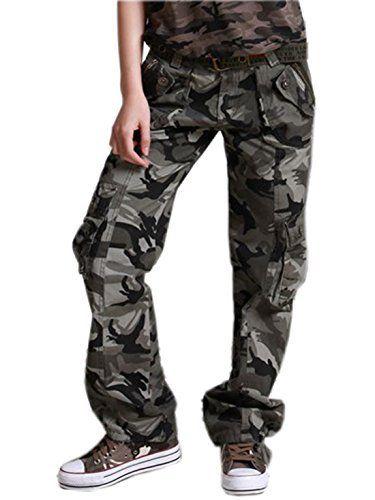 fee6b1b9b52 Chouyatou Women s Casual Camouflage Multi Pockets Cargo Pants  pants   clothing