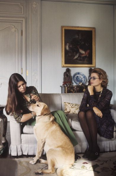 Grace & Caroline of Monaco in Paris c.1976. dog love, puppy love, pets and owners, golden retriever