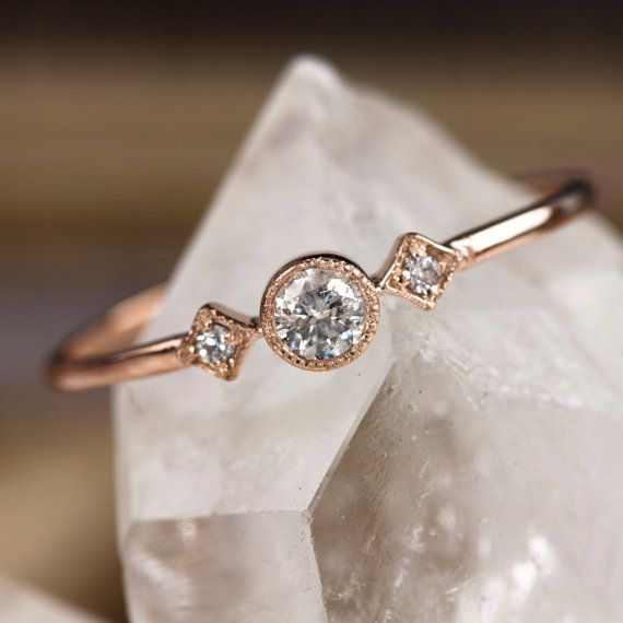 Rose gold engagement ring, 14k solid rose gold, .15ctw diamond stacking ring, vintage inspired ring, yellow rose white gold, sta-r103