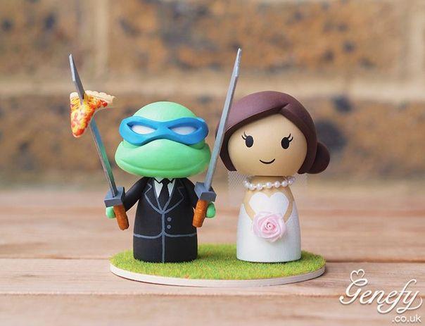 Gorgeous Geeky Cake Toppers - Teenage Mutant Ninja Turtle Wedding Cake Topper - Genefy Playground