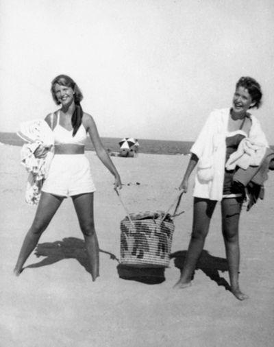Sylvia Plath and Elizabeth Cantor, Nauset Beach, Cape Cod, 1952.