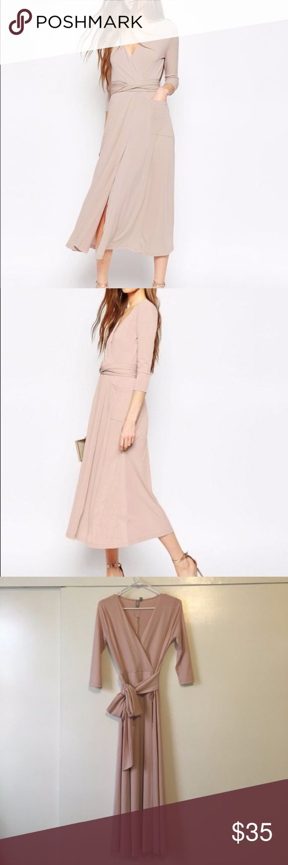 ASOS crepe wrap dress Reposh!  Pics are also from the original seller. ASOS wrap dress in blush pink. Crepe material so fits snug to the body. Two front pockets, v neck, tie waist and new with tags. I would say it's best for women 5'4 and up. Make an offer! ASOS Dresses Midi