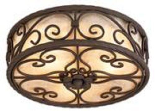 "Mediterranean Dark Walnut Natural Mica Collection 12"" Wide Ceiling Light Fixture #JohnTimberlandLighting #Spanish"