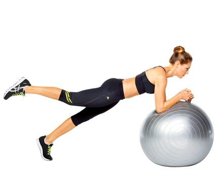 Rear Raiser: Works: Butt, Lower Back, Abs, Hamstrings Start in a plank with forearms on ball, hands clasped. Slowly lift right leg as high as you can (as shown). Lower leg, then repeat on opposite side for 1 rep. Do 12 reps. Source: Larsen & Talbert