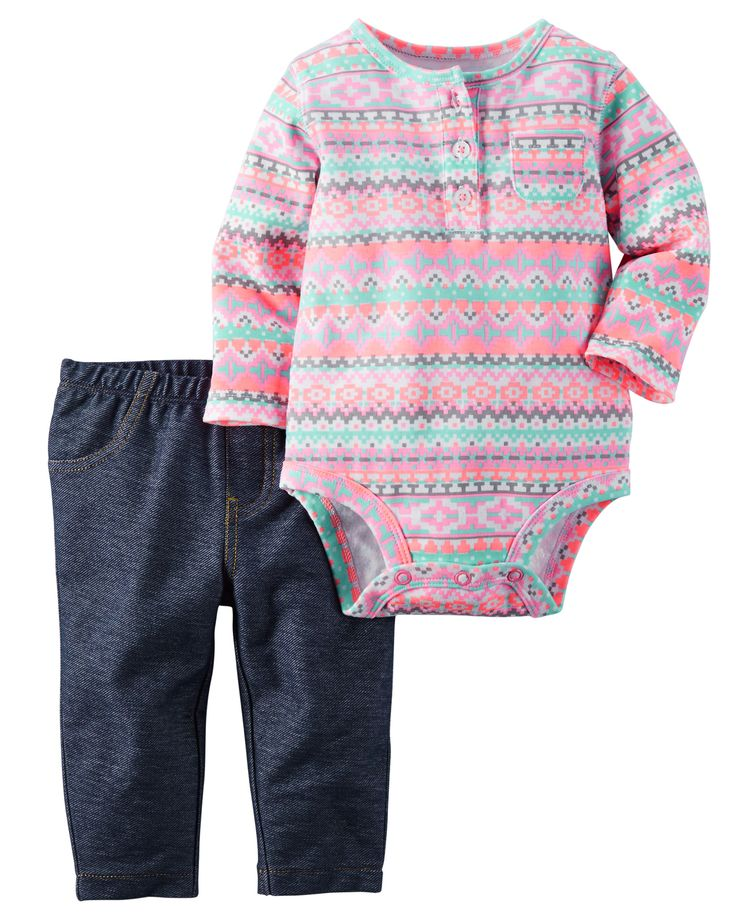 Baby Girl 2-Piece Bodysuit & Jegging Set from Carters.com. Shop clothing…