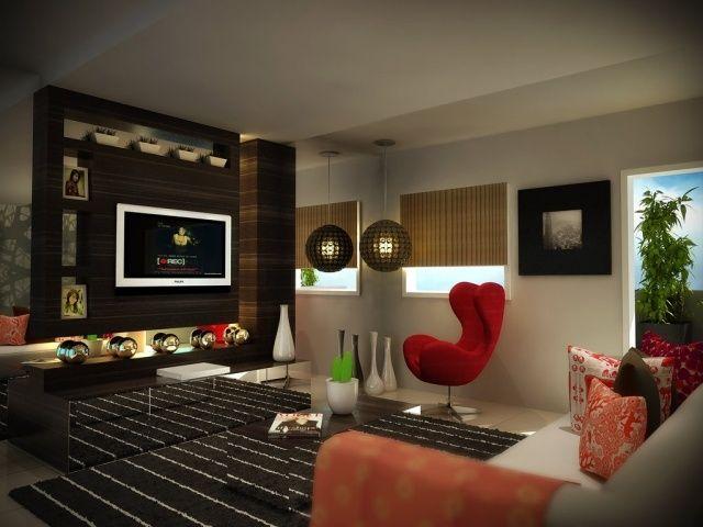 salon moderne: cinéma à domicile et fauteuil design rouge