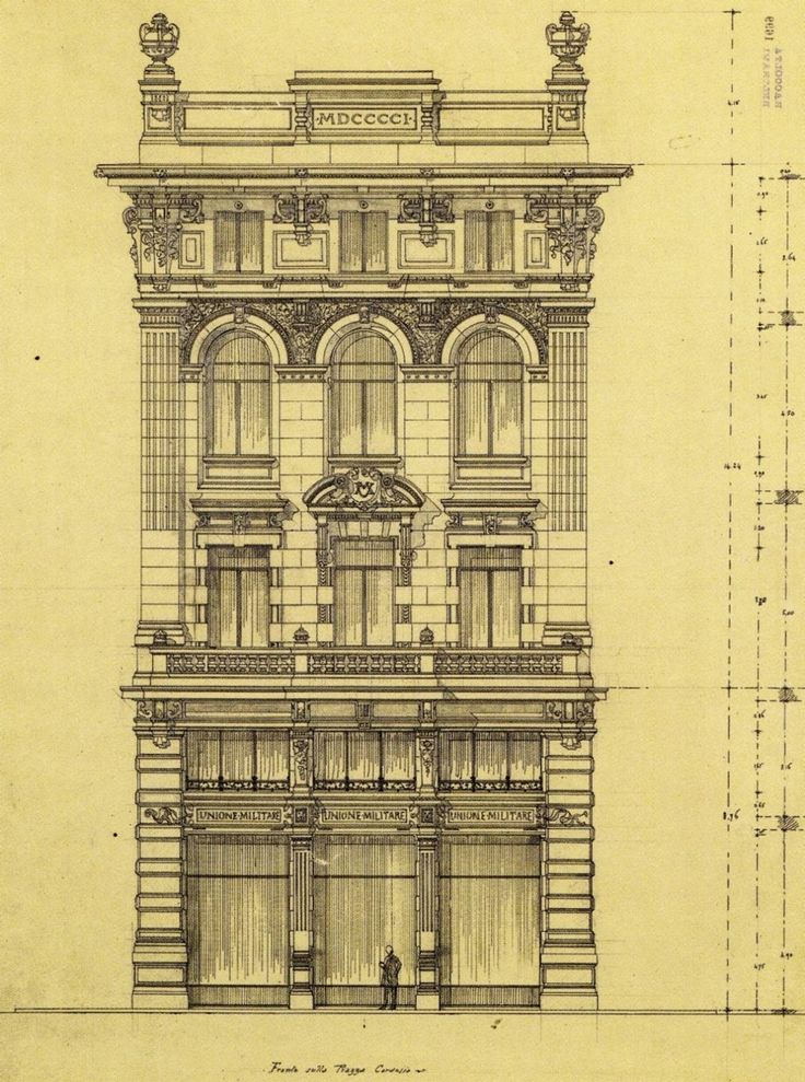Classical Front Elevation Designs : Elevation for a building on piazza cordusio milan