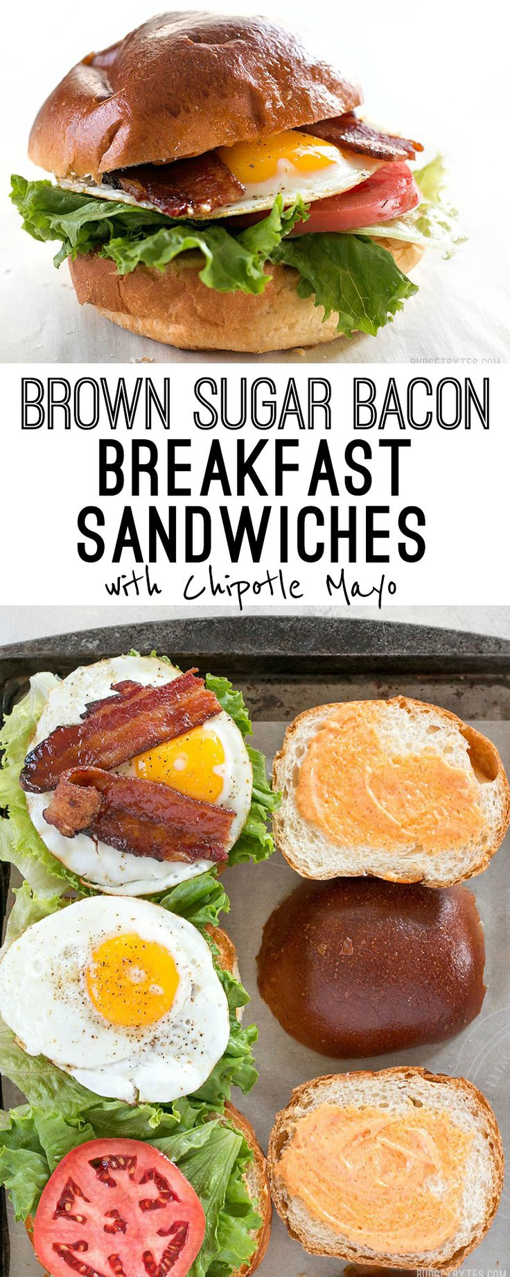 Brown Sugar Bacon Breakfast Sandwiches with Chipotle Mayo are the perfect mix of salty, sweet, and spicy for your weekend brunch. @budgetbytes