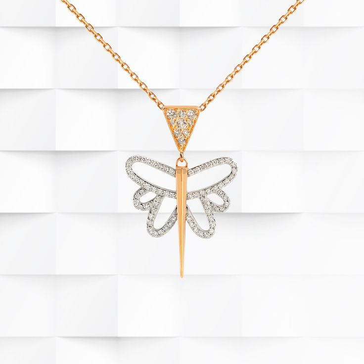 #JADfinejewelry 18k #rosegold and 18k #whitegold is set with luminous #diamonds in exquisite lightness for this Esprit #necklace hanging on a #rosegold #chain.