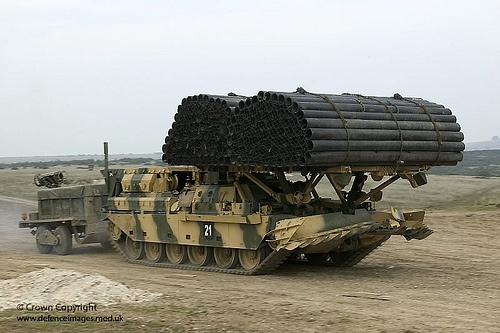A Chieftain Armoured Vehicle Royal Engineers (AVRE) is pictured carrying a fascine at the Firepower Demonstration, the Land Warfare Centre Warminster, Salisbury Plain.