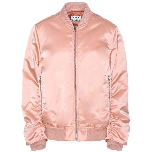 Acne Studios Leia Satin Bomber Jacket ($715) ❤ liked on Polyvore featuring outerwear, jackets, pink, pink bomber jacket, acne studios, flight jacket, pink satin jacket and blouson jacket