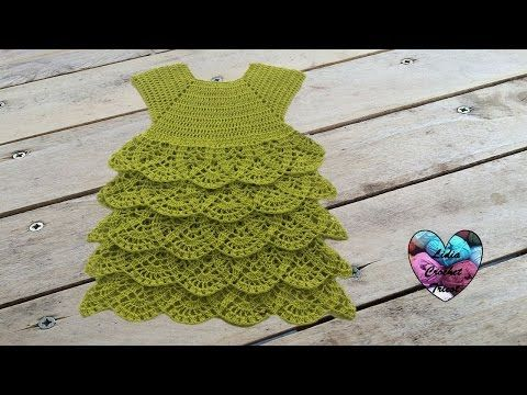 Princess dress crochet all sizes (english subtitles) 1/2 - YouTube