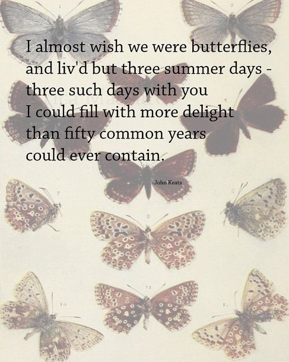 I Almost Wish We Were Butterflies, and liv'd but three summer days-three such days with you, I could fill with more delight than fifty common years could ever contain. | Quote: John Keats | Vintage Butterflies Illustration | Inspirational Love Quotes and Poetry | -Erica Massaro, EDMPrintedEphemera