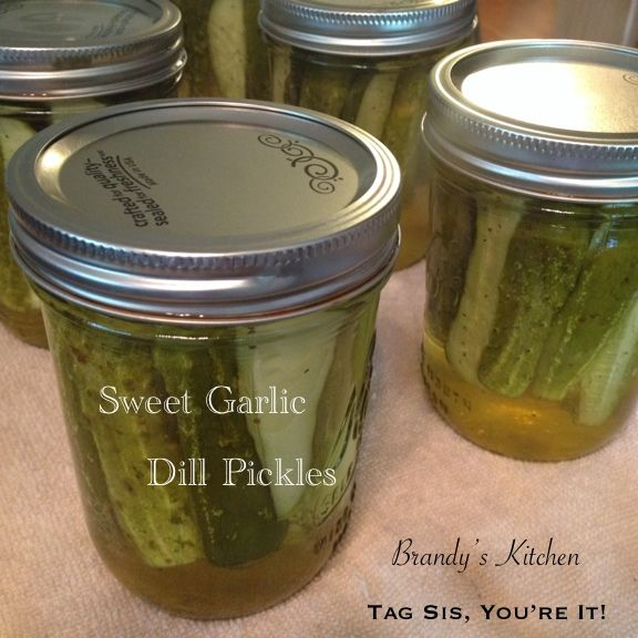 Sweet Garlic Dill Pickles. 2 doz. (3 1/2 lb.) sm pickling cucumbers in a brine of 4 c white vinegar, 2 c sugar, 1 1/3 c water, 1/3 c pickling salt, and 1/4 t turmeric. Pack into 6 pint jars with fresh dill and garlic, and celery seed.