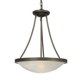 Galaxy Julian 15-in W Oil-Rubbed Bronze Hardwired Standard Pendant Light with White Shade