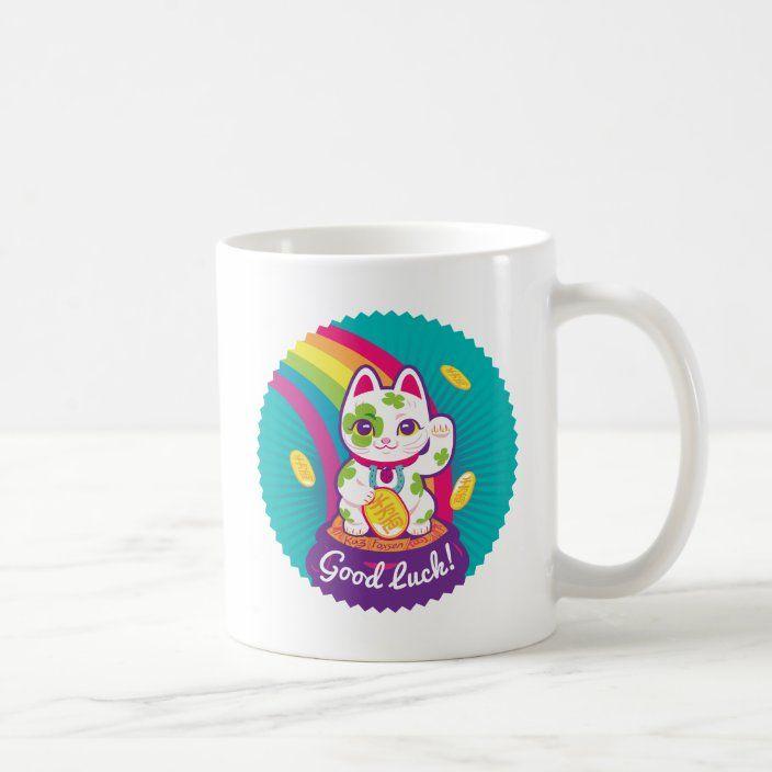 Lucky Cat Maneki Neko Good Luck Pot Of Gold Coffee Mug Zazzle Com Lucky Cat Pot Of Gold Maneki Neko