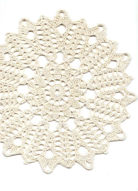 Crochet doily, lace doilies, table decoration, crocheted doilie, center piece, hand made, table runner, napkin, cream via Etsy
