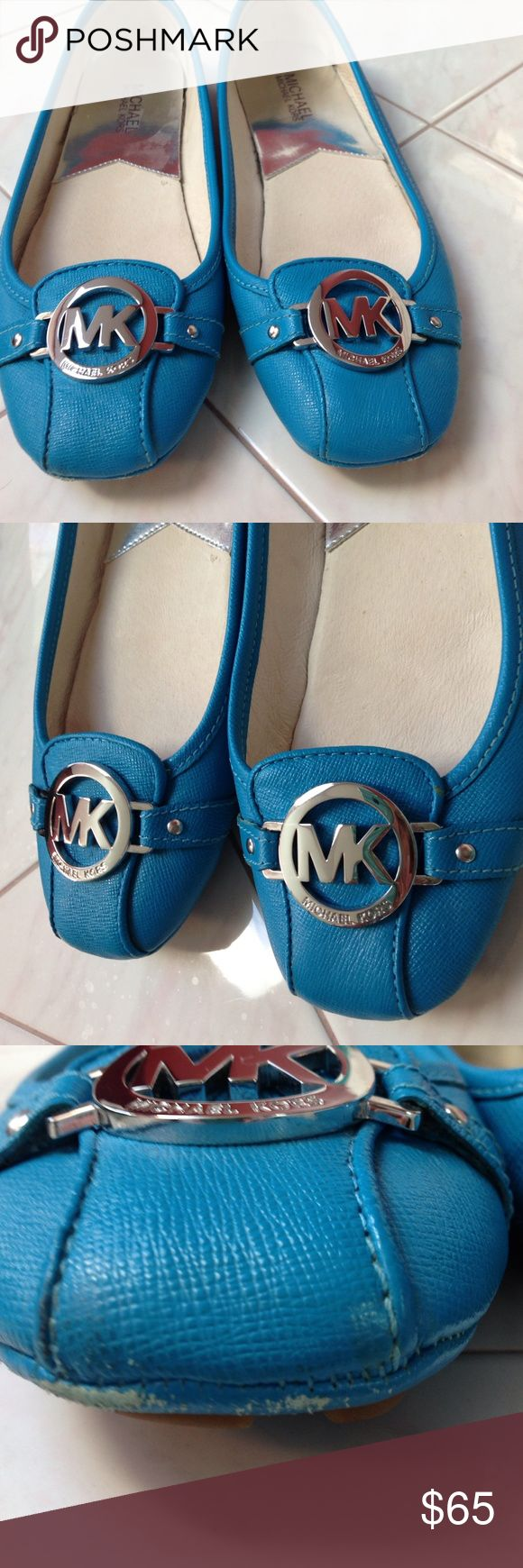 Michael Kors Flats Michael Kors flats. Worn a couple times. Some minor scuffing shown in photos which can be fixed with a little polish. Gorgeous blue color with silver tone accents. Leather upper MICHAEL Michael Kors Shoes Flats & Loafers