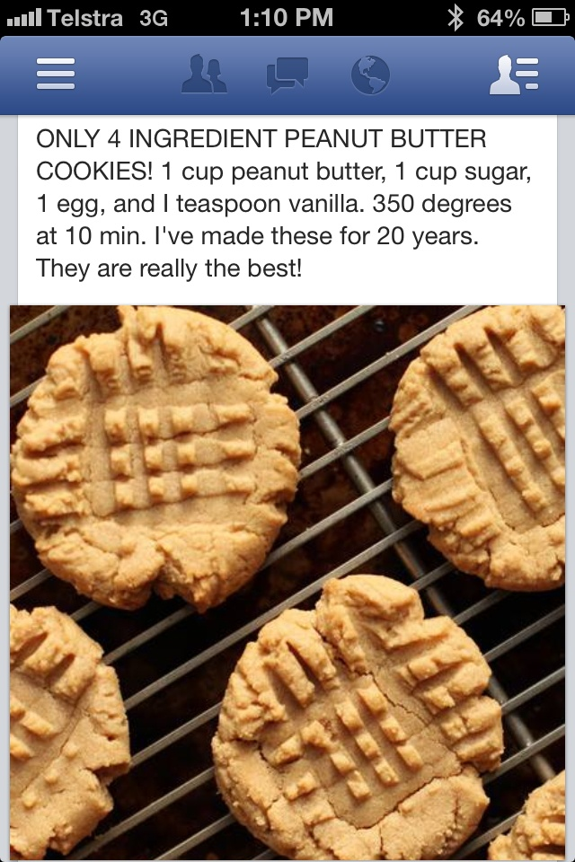 Peanut butter cookies with 4 ingredients....my kids loved these, however I like my cookies made with some flour :)