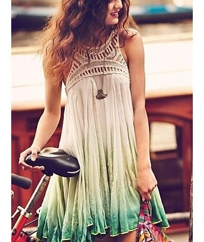 The tie dye dress is very modern and fashionable. I love the green colours used in it and the lace around the neck is the best part of it. Its beautiful and very trendy at the same time and it draws the eyes attention and that an important thing in fashion. :)