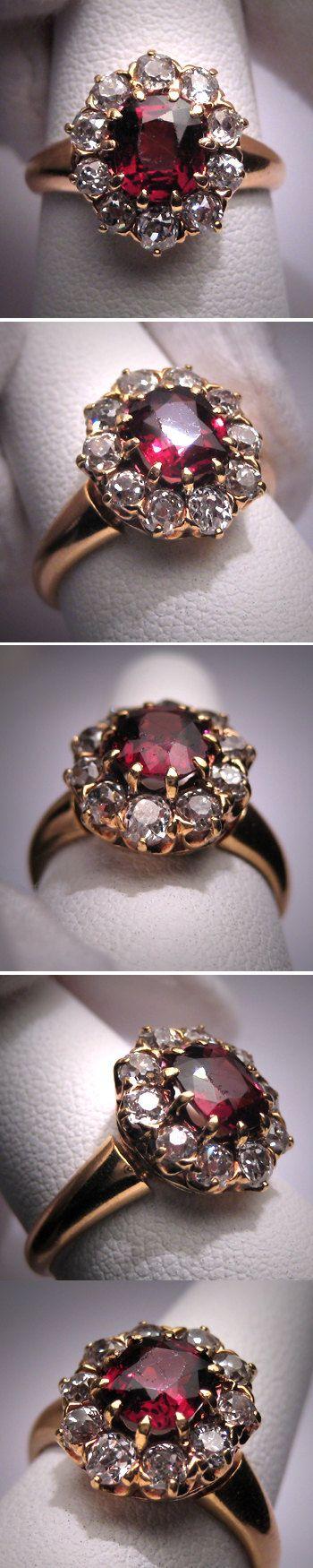 Antique Garnet Diamond Wedding Ring Vintage by AawsombleiJewelry, $2450.00