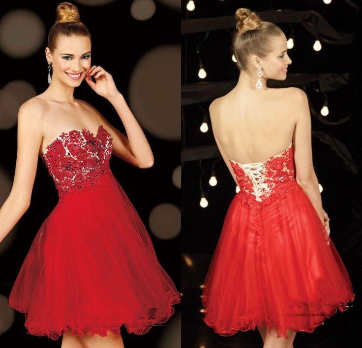 Rouge de charme avec des cristaux de tulle en dentelle courte chérie mini robe homecoming 2015 lacer retour robe de bal pour adolescent filles.