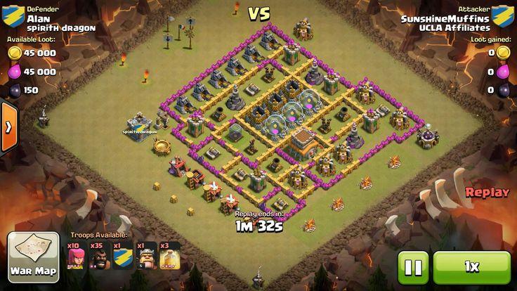 Attacker TH7: 10 Level 4 Archer, 35 Level 2 Hog Rider, 1 Level 3 Dragon, Level 5 Barbarian King, 2 Level 4 Healing Spell Defender TH8: Rank 13/20