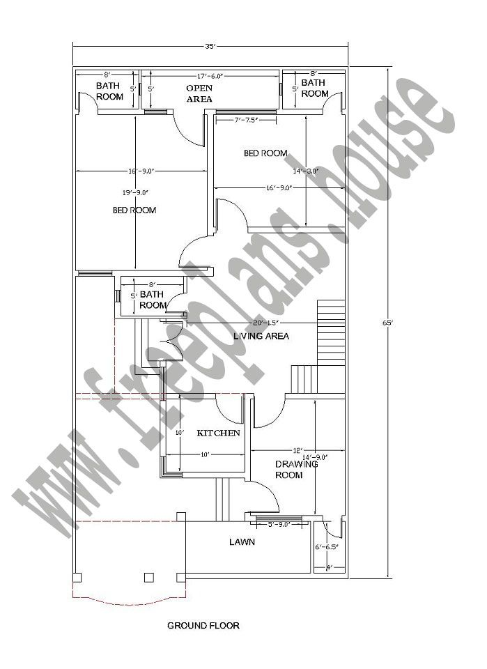 Ground floor 35 65 feet 211 square meters house plan for 150 square meters house floor plan