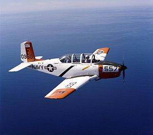 T-34  Primary Navy Trainer. The first six months of flight traning after API (Aviation Pre-flight Indoctrination) is spent training in the T-34 (above) or T-6 Texan II.