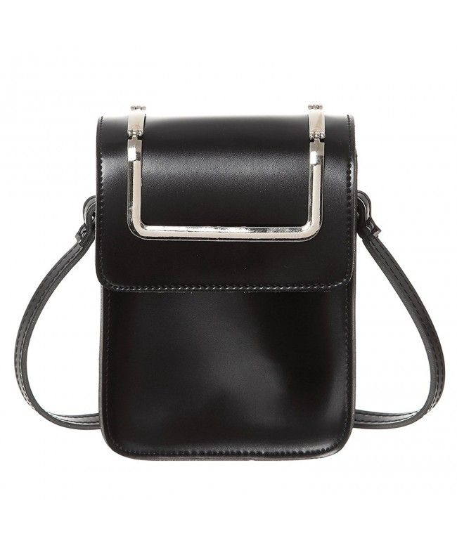 fd82cf1e90ff Cell Phone Purse Women Synthetic Leather Small Crossbody Wallet Purse Bags  - Black - C8189XNYDCO