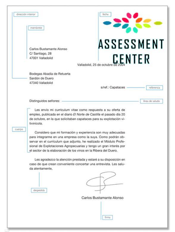 "Modelo de una carta de presentación. ""Formas de Redactar el Curriculum Vitae"" ~ #TipsLaborales #AssessmentCenter"