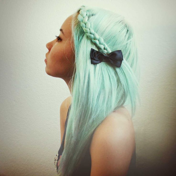 #pastel #green #dyed #scene #hair #pretty