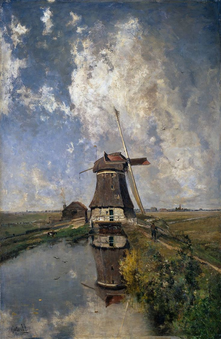 Windmill on a Polder Wate. (Paul Joseph Constantin Gabriel, c. 1889)