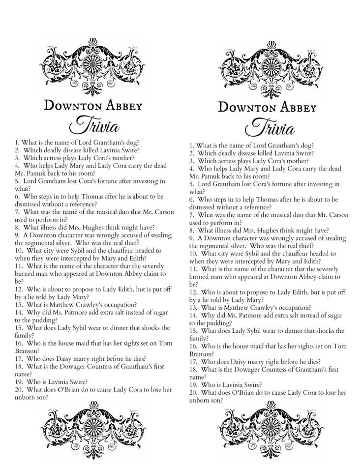 Downton Abbey Trivia Quiz Free Printable, By Make Life Lovely.pdf  Free Printable Quiz